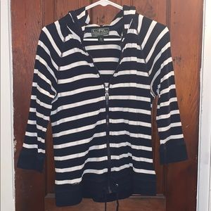Light 3/4 sleeve white and navy striped cardigan